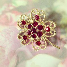 Gold & Red Rhinestone Vintage Brooch