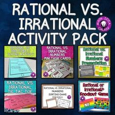 This pack of a lesson, games, and activities is a great way to introduce and practice the concept of identifying whether a number is rational or irrational. I have used these strategies with advanced students and with struggling students. Lots of engagement without any worksheets!