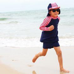 The long sleeve nautical mischief rashie, shorts and hat swimwear set by Rashoodz available at Small to TALL Boy Or Girl, Nautical, Shorts, Boys, Long Sleeve, Swimwear, Collection, Fashion, Bathing Suits