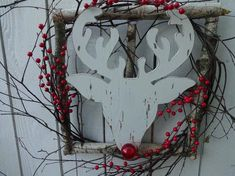 Red Berry Wreath, Green Wreath, Wooden Reindeer, Red Nosed Reindeer, 4th Of July Decorations, Christmas Decorations, Indoor Wreath, Twig Wreath, Rudolph The Red
