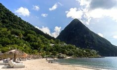 6 Things to know about St Lucia. Sugar Beach facing volcanic Piton (now extinct!)  #caribbean #island #travel #tips