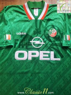 bccb0eeb5 Relive Republic of Ireland s 1994 1995 international season with this  vintage Adidas home football shirt