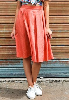 6655bc42d6a4 Vintage 90s Orange Midi Skirt Asos
