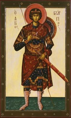 Lessons from the Divine Office of St. George, Martyr: Book Epistle 6 from the Epistle to Martyrs and Confessors by St. Cyprian, Bishop and Martyr Byzantine Icons, Byzantine Art, Religious Paintings, Religious Icons, Saint George, Orthodox Icons, Angel Art, Sacred Art, Christian Art