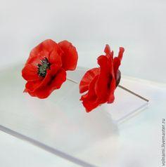 """Купить """"Маки"""" серьги-гвоздики - ярко-красный, мак, серьги-гвоздики, маки, цветы"""