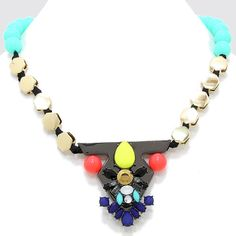 Mister Mister, please take my picture.   Mister Mister is fun. Pure and simple. And let me tell you why:  Turquoise colored beads, shiny gold hexagons, geometric shapes, colored rhinestones, neon.  I mean, what?! Go ahead, spark up a convo.  Necklace is 17 inches and sits on the collar. #SweetSangria #jewelry #trending #eyecandy #unique #boho #accessories #fashion #coolmom #womensjewelry