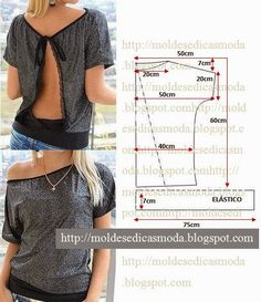 Blusa con cuello espalda Plantillas Moda ~ de Medida