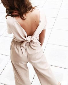 Nude Pink Spring Summer Colour Palette Co Ord Two Piece With V-Neck Low Plunge Open Back Tie Bow Back Top