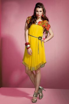 Asymmetrical yellow kurti with waist band