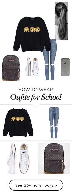 """School"" by staychic-fashion on Polyvore featuring moda, Topshop, Converse e JanSport"