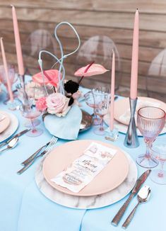 La Tavola Fine Linen Rental: Nuovo Light Blue with Nuovo Light Blue Napkins Reception Decorations, Table Decorations, Romantic Wedding Colors, Pink Plates, Eclectic Wedding, Glitter Wedding, Green Wedding Shoes, Alternative Wedding, Pink Marble