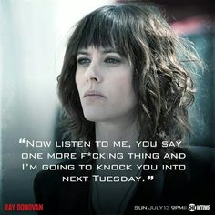 Ignore the caption if it offends. THIS is what I want to do with my hair. Plus she is 1 of my faves from the series Ray Donovan. She is BAD (in an awesome way)!