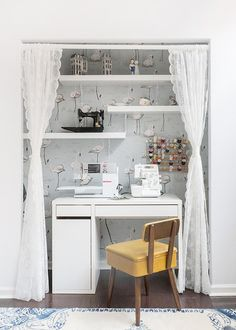 The sweetest #DIY sewing station ever, tucked right inside a spare closet.
