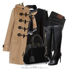 A fashion look from December 2014 featuring Diesel sweatshirts, Burberry coats and D&G jeans / Polyvore