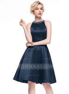 A-Line/Princess Scoop Neck Knee-Length Satin Cocktail Dress With Beading (016081171) - JJsHouse