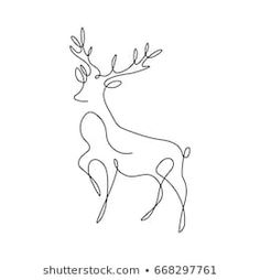 One line design silhouette of deer.vector illustration One line design silhouette of deer. One Line Tattoo, Line Tattoos, Fox Tattoos, Deer Drawing, Line Drawing, Drawing Faces, Drawing Tips, Cervo Tattoo, Line Art