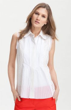 Tory Burch Durrell Sleeveless Pleated Placket Eyelet Shirt available at #Nordstrom