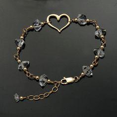 7f8d01469064 Herkimer Diamond bracelet   Quartz Crystal bracelet   Herkimer bracelet    Herkimer Gold   April Birthstone