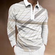 BrosWear Men's Men's Geometric Print Zip Collar Casual Long Sleeve Polo Shirt Long Sleeve Polo, Long Sleeve Shirts, Business Shirts, Fashion Shirts, Mens Fall, Winter Trends, Men Street, Shirt Style, Casual Shirts