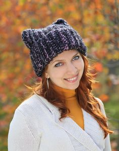 Black purple pink baggy knit beanie with revers adult Crochet cat ears costume Super Chunky animal lover gift cosplay mimimi Reversible hat