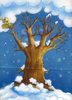 Drvece-cetiri godisnja doba Seasons Months, Weather Seasons, Four Seasons, Winter Illustration, Children's Book Illustration, Bear Art, Tree Art, Kids Education, Science And Nature