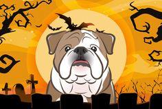 Halloween English Bulldog Fabric Placemat BB1777PLMT