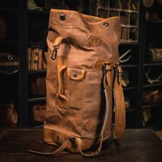 Yosemite Vintage Military Duffle Backpack Bag - Waxed Canvas & Leather - Tan this bag Waxed Canvas, Canvas Leather, Leather Backpack For Men, Leather Backpacks, Leather Bags, Canvas Duffle Bag, Leather Projects, Leather Accessories, Leather Working