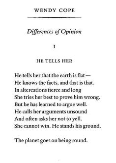 of course my all time favourite poem by Wendy Cope is this one, explaining mansplaining before it had a name.