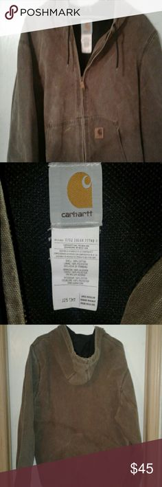CARHARTT  JACKET WITH HOOD  IN EXCELLENT CONDITION CARHARTT COAT/Jacket  ? dureable choc .brown hooded and  in excellent condition, no rips , no tears .  & wore only a few times. If you are a CARHARTT wearer you appreciate the quality in all CARHARTT products. CARHARTT  Jackets & Coats