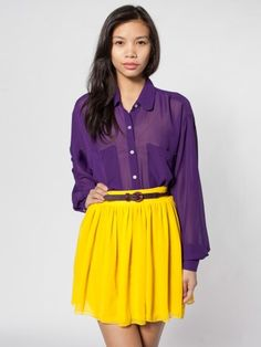 Chiffon Double-Layered Shirred Waist Skirt | Colorful Chiffon | New & Now's Women | American Apparel