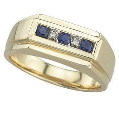 0.36 Carat Diamond Sapphire 14K Yellow Gold MEN Gemstone Rings 9.98g: Ring Size: Sizable