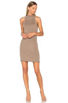 6b05549a0314 525 america Mock Neck Sweater Dress in Beechwood 525 America, Mock Neck,  Ruffle Dress
