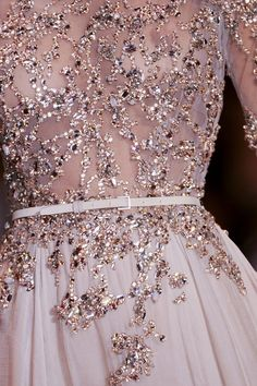 Elie Saab bridal gown, nude creamier colour than usual. Embellished wedding dress close up. Quality is just perfect as well!