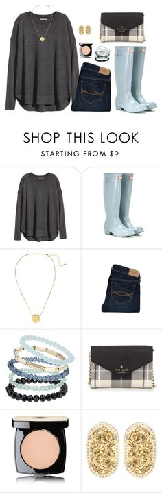 """""""H is for H&M and Hunter boots"""" by emily-ta ❤ liked on Polyvore featuring H&M, Hunter, Abercrombie & Fitch, Topshop, Kate Spade, Chanel and Kendra Scott"""