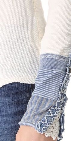 Sleeve inspiration - Free People Kyoto Cuff Thermal Top ~ cute top!! But they're sold out! Gives me an idea to add a cute sleeve cuff to a thermal shirt I already have! : )