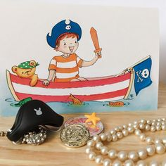 Pirate Boy and Teddy  Greeting card for birthday by PlayfulStories