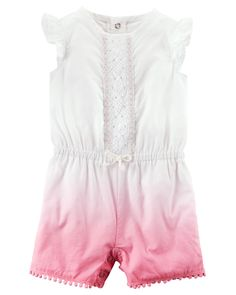 With flutter sleeves, a cinched waist and on-trend dip dye design, she'll be playing in style in this easy-on romper!