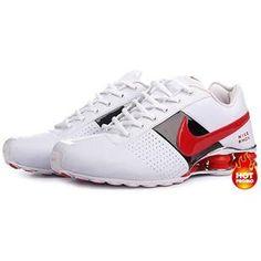 www.asneakers4u.com  Mens Nike Shox Deliver White Red Black Nike Shox Shoes 4a1d91f62