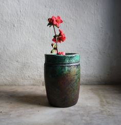 DISCOUNT CODE  Raku ceramic green vase by LeTerreDellaTorre