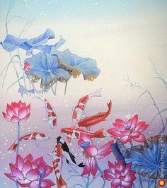 шелковый батик шарф 'Лотосы и рыбки' - батик, авторские шарфы и платки. МегаГрад - мега-портал авторской ручной работы
