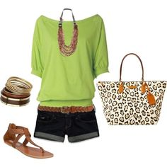 Love! Dark cuffed shorts, lime green top, animal print bag, gold and brown accessories. I'd wear it!