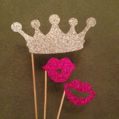 Glitter Photo Booth Props - 3 Piece Crown & Lips Wedding Photo Booth Props, Bridal Shower, Bachelorette Party Glitter PhotoBooth Props