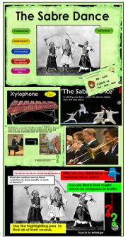 Khachaturian's Sabre Dance comes to life as students learn about the composer, compare sabres to modern fencing, decode musical form, listen for instruments, move, watch performances,etc. Enough material for several lessons #iwb #smartee #musedchat