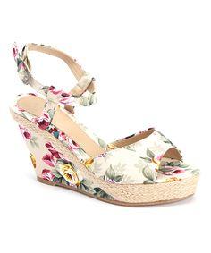 Bucco Beige Floral Suvanna Wedge Sandal | zulily