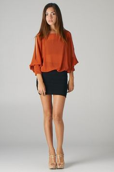 Pintucked Cuff Open-Shoulder Top (Brick) - Front