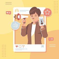 Social media influencer flat design illu...   Premium Vector #Freepik #vector #template #social-media #cartoon #instagram Web Design, Layout Design, Site Design, Social Media Influencer, Influencer Marketing, Social Media Icons, Social Media Design, Motion Design, Design Thinking