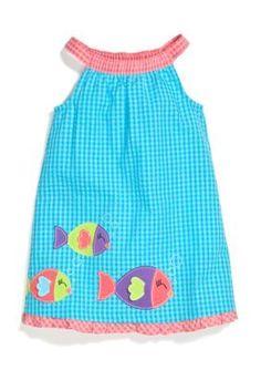 J Khaki Sleeveless Gingham Fish Dress Toddler Girls