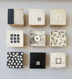 Geometry in Black and White by Lori Katz - (Ceramic Wall Sculpture)