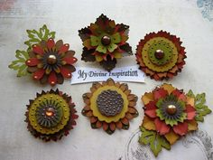 Fall Flowers Paper Embellishments and Paper Flowers for Scrapbooking Cards Mini Albums and Papercrafts