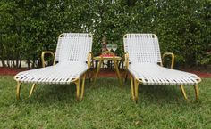 Retro+Vintage+Gold+Aluminum+Patio+Set+Two+Chaise+by+SoulfulVintage